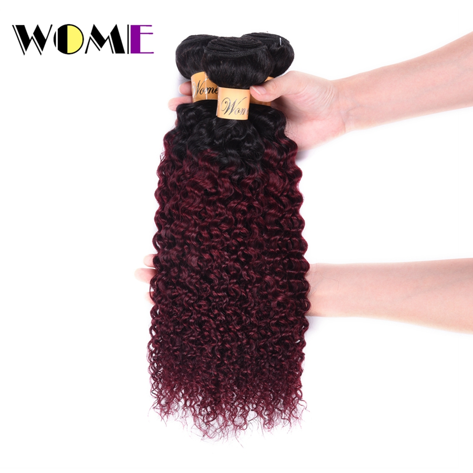 Hair Weaves Brave Wome Pre-colored Brazilian Hair Weave Bundles Ombre T1b/99j Curly Human Hair 3 Bundles 2 Tone Black To Red Wine Color Hair High Safety