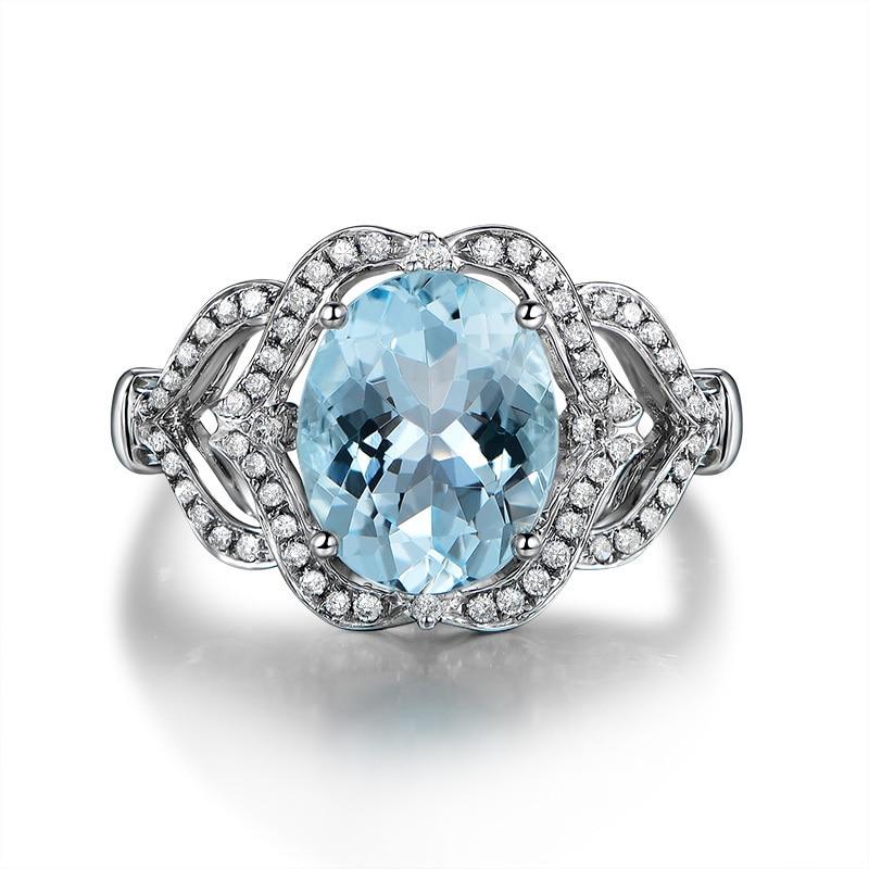 AINUOSHI pur 925 argent Sterling topaze bleue couronne anneau 3ct ovale coupe coeur bague de fiançailles Fine bijoux pour femme - 4