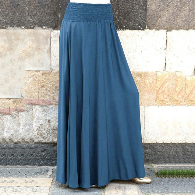 Fashion Women's skirt skirts womens jupe femme faldas mujer moda Elastic Waist Solid Pleated Vintage A-line Loose Long Skirts Z4 4