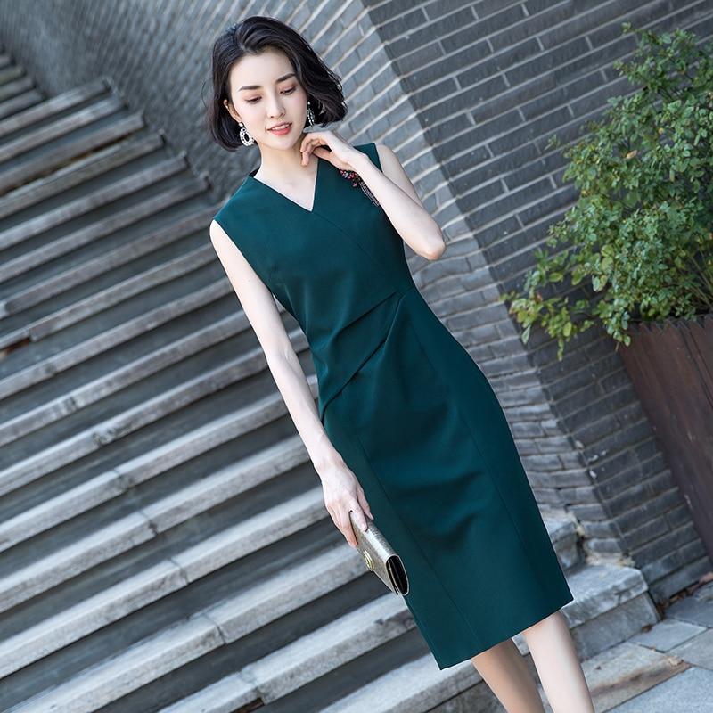 Vrouwen volledige jurk vrouwelijke nieuwe 2019 modieuze temperament is eenvoudig en gemakkelijk lange lijsten tonen dunne zomer jurk - 4