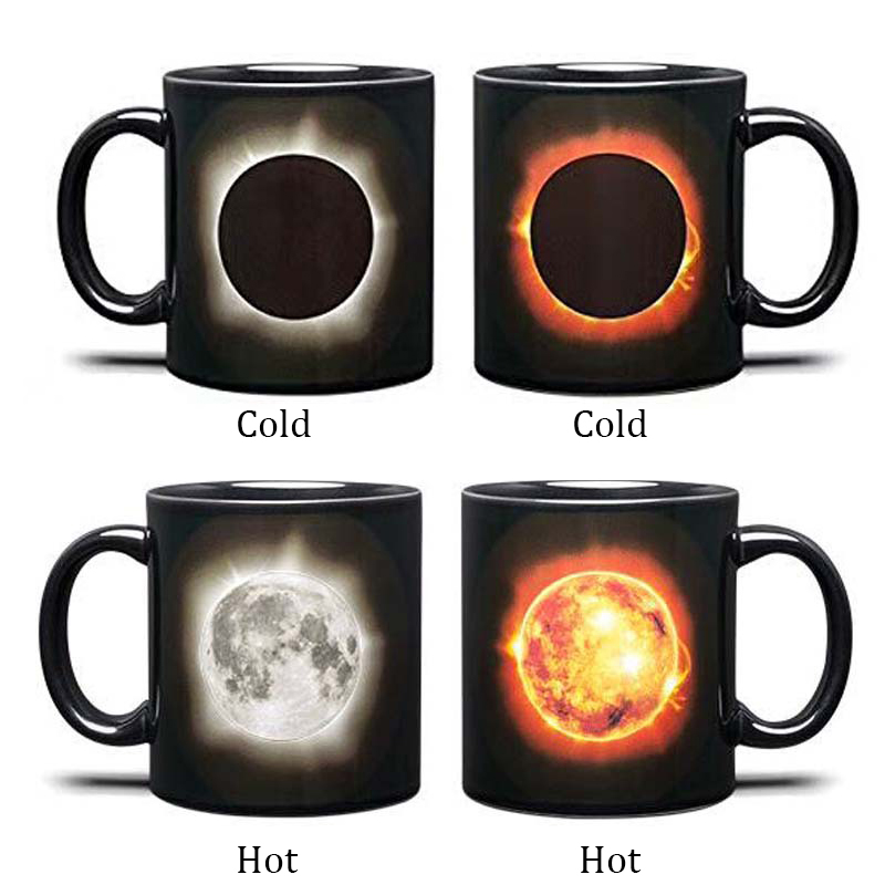 New solar eclipses heat color changing ceramic mugs cup