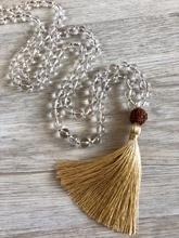 108 Mala Collana di Perline Bianco Quarzo Della Collana Annodato nappa Collane monili di Yoga Rudraksha Preghiera di Meditazione Mala Collane