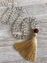 Collar de perla Mala para mujer, collar de cuarzo blanco con borla anudada, collares de oración, joyería de Yoga, collares Mala de meditación Rudraksha 108