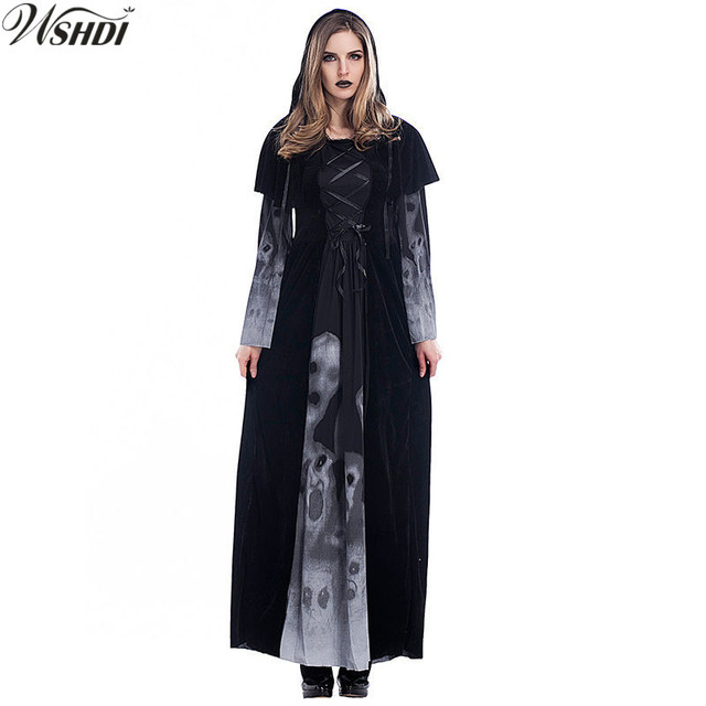 Medieval Renaissance Luxury Adult Womens Halloween Witch Costume Black  Skull Print Gothic Queen of Vampire Cosplay 8a47ff326c47