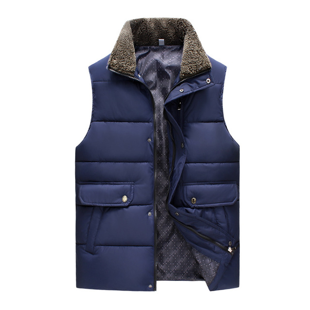 2016 Autumn and Winter New Men's Down Jacket Vest lambswool Stand up collar Outdoors vest jacket High Qquality Coat Waistcoat