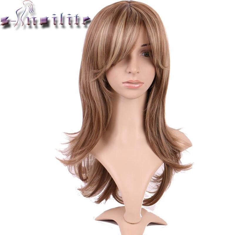S-noilite Lange Keine Lace Front Perücken Welle Hitzebeständige Synthetische Glueless Perücken mit vollem Pony Natürliche Haarteile