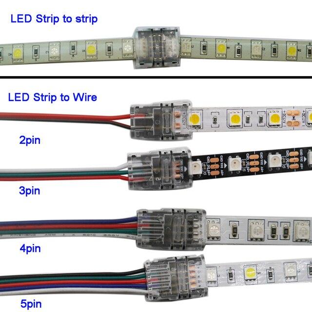 5 шт./партия 2pin 3pin 4pin 5pin светодиодные ленты Разъем для 3528 5050 светодиодные ленты к проводу или полосу к полосу соединения использовать терминалы
