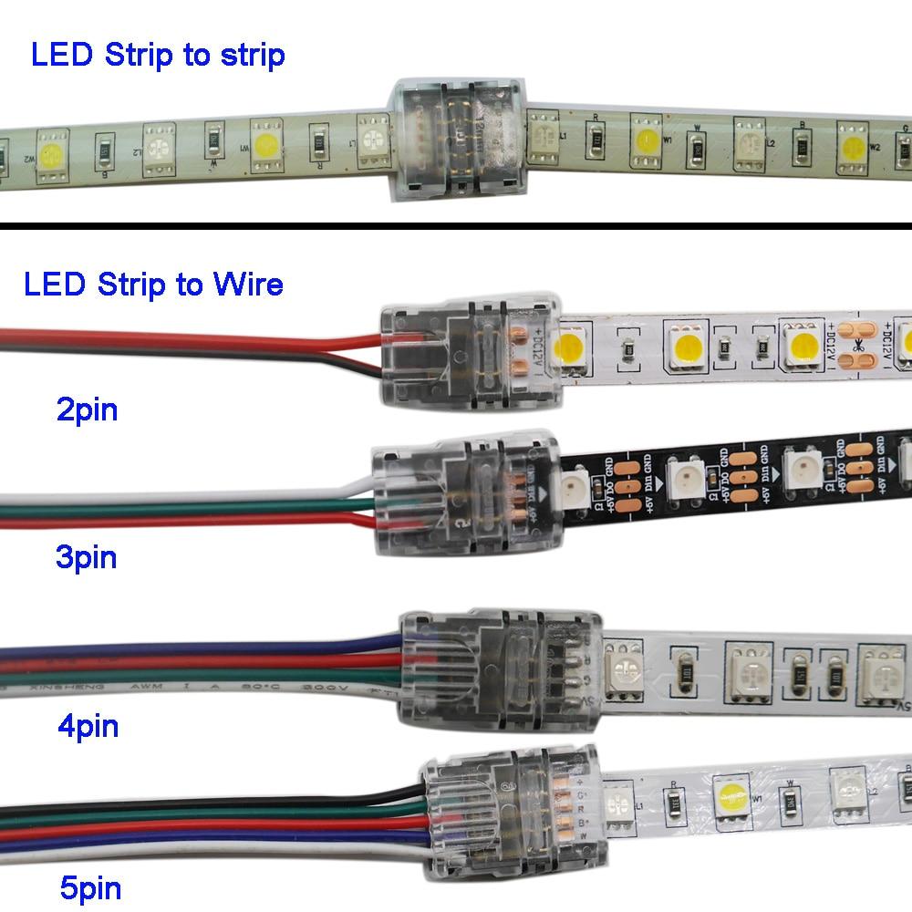 5pcs/lot 2pin 3pin 4pin 5pin LED Strip Connector For 3528 5050 Led Strip To Wire Or Strip To Strip Connection Use Terminals