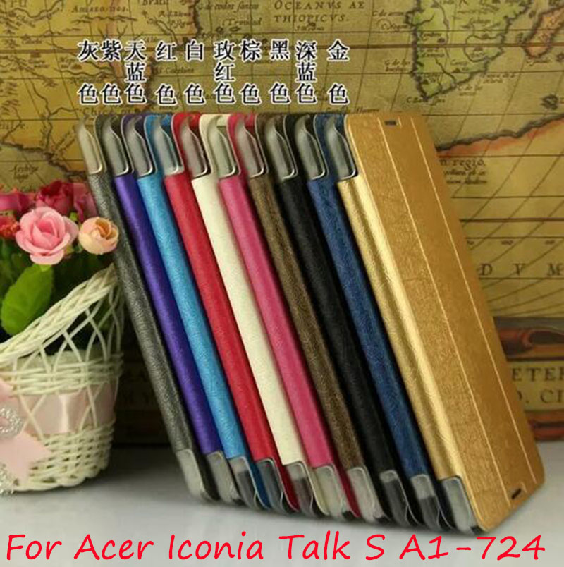 Luxury Silk Print Pattern PU Leather Clear Back Cases Cover For Acer Iconia Talk S A1-724 A1 724 7 Tablet acer iconia talk s 7 0 a1 724 16gb lte blue