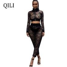QILI Women Sexy Black Lace Jumpsuits See Through Zipper Long Sleeve Two Piece Set Jumpsuit Drawstring Elastic waist