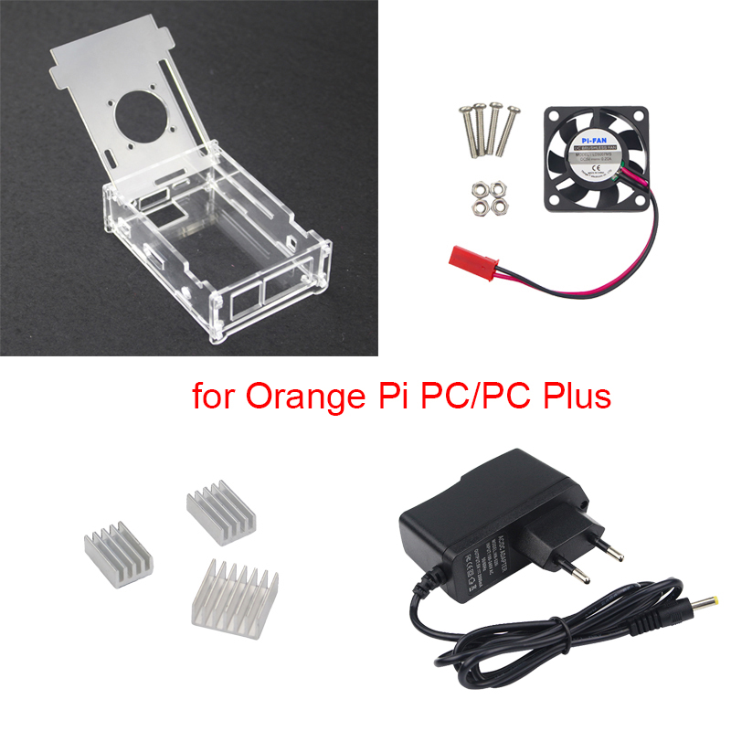 For Orange Pi PC Transparent Acrylic Case + 5V 2A Power Supply Charger + Cooling Fan + Heat Sink Support For Orange Pi PC Plus