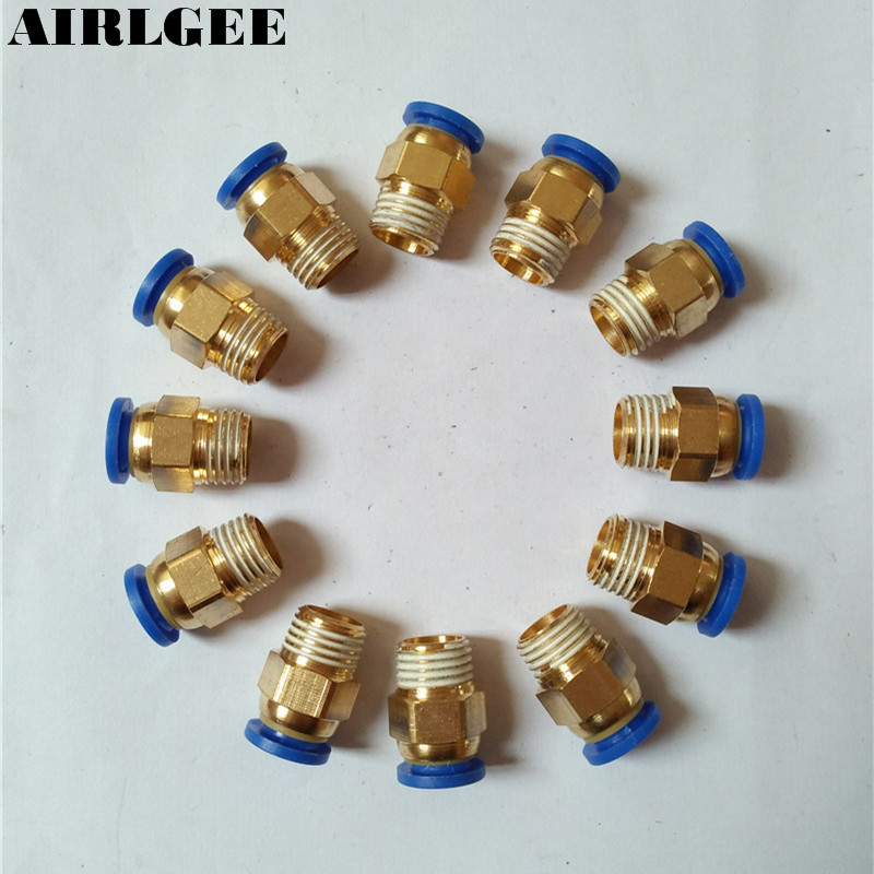 8mm Tube 1/4BSP Male Thread Connector Pneumatic Air Quick Fittings 12 Pcs 2 pcs lot 3 8 male thread to 8mm elbow pneumatic connector fittings discount 50