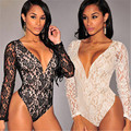 Woman Summer New Arrival Sexy Womens V Neck Long Sleeve Jumpsuit Romper Playsuit Tops Lace Shirt HOT woman Bodysuits