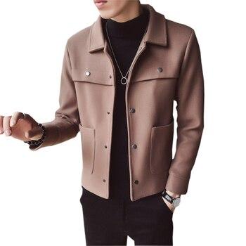 Men Woolen Coats Autumn Winter Fashion Short Jackets Outwears Male Slim Warm Tops Man Casual Black Khaki Woolen Jackets FP1717