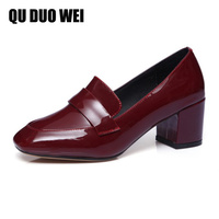 2018 New Spring Genuine Patent Leather Glossly Women Pumps Shoes Square Toe Slip On Ladies Red