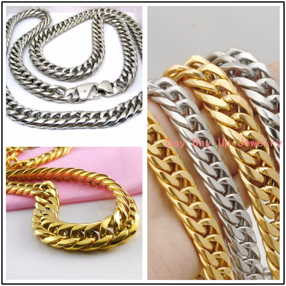 7-40 13/16mm Fashion Heavy 316L Stainless Steel Silver Gold Curb Cuban Chain Mens Boys Necklace Or Bracelet Cool Male Jewelry