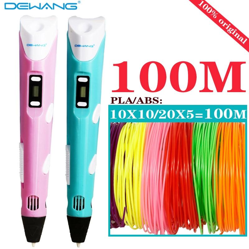 Dewang 3D Druck Stift LED/LCD Bildschirm 3D Stift zeichnung Stift + 100 M 1,75mm verbrauchs Mit ABS /PLA kinder spielzeug geburtstag präsentieren