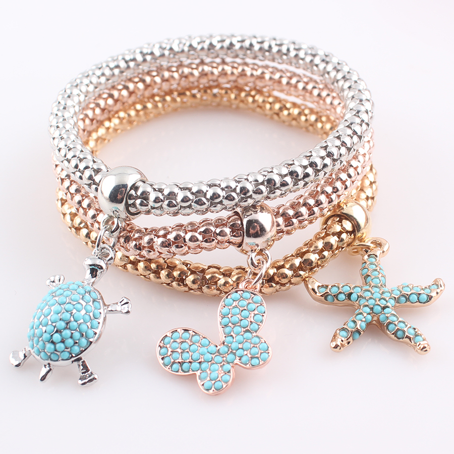 Little Turtle Charms For Bracelets For Women Gold Color 2017 Vintage Women  Multi Layer Bracelets&bangles Accessories