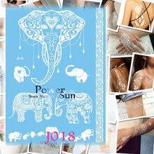 1PC White Indian Lace Elephant Ganesha Tattoo Women Body Arm Art Temporary Tattoo Stickers Waterproof Fake Bracelet Tatoos PJ018