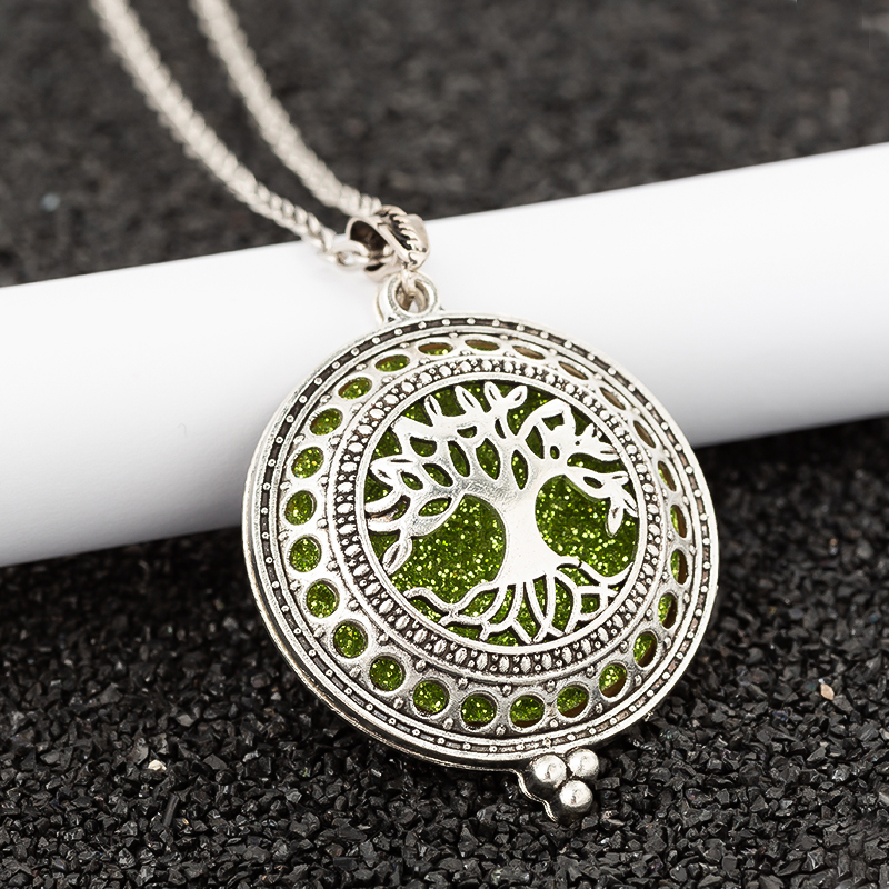 Aroma Diffuser life Tree Necklace Open Lockets Pendant Perfume Oil  Locket to send Chain length 60cm+1pcs bright mat A43(China)