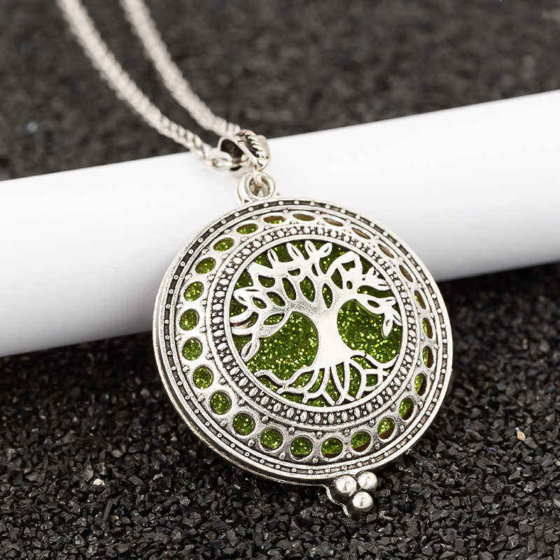 Aroma Diffuser life Tree Necklace Open Lockets Pendant Perfume Oil  Locket to send Chain length 60cm+1pcs bright mat A43