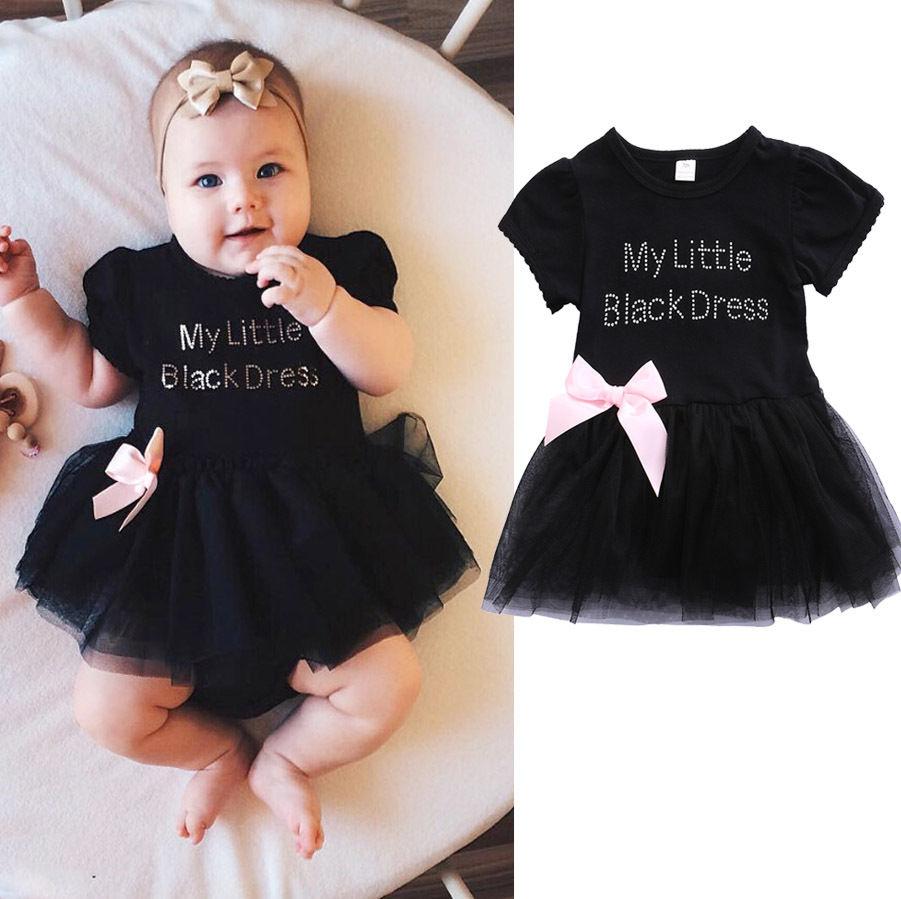 Newborn Baby Girls Kids Dress MY LITTLE BLACK DRESS lace Princess Toddler Outfits Summer Tutu Lace Dress Sundress 0-24M слингобусы itzy ritzy pebble little black dress pebneck1000