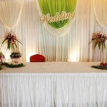 H100cm x Длина: 10 м одежда из Ice Silk для длинный стол юбка ткань свадебного стола юбка/железная Люстра для гостиницы для праздничного стола для банкетов Декор