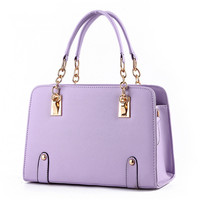 PU Women Handbag Shoulder Bag Tote Elegant Violet Crossbody Messenger Metal Chain Zipper Fashion