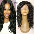 4x4 base de seda jet negro onda del cuerpo de encaje frontal peluca 100% onda del cuerpo del pelo humano virginal brasileño peluca del frente del cordón nudos invisibles