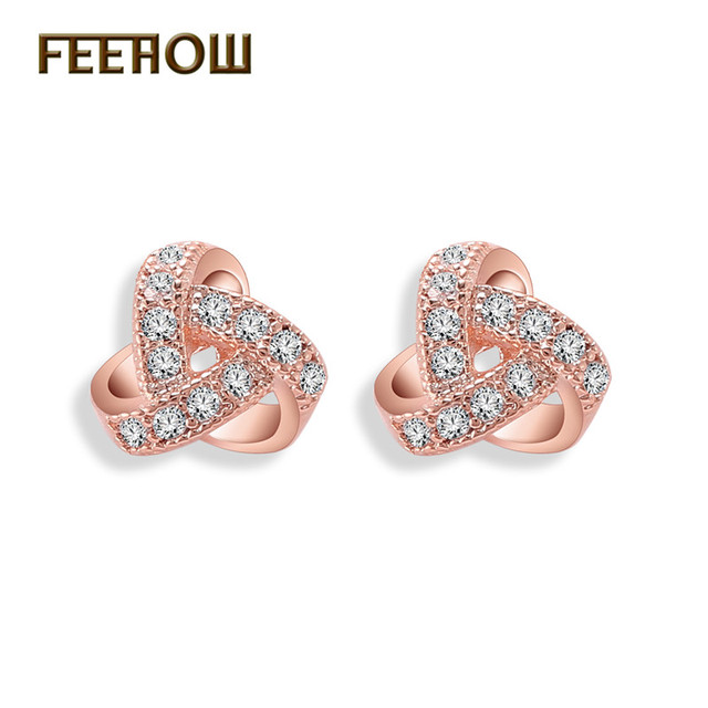 Feehow Zircon Earrings Fashion Triangle Micro Inlay Cubic Zirconia Crystal Stud For Women Party