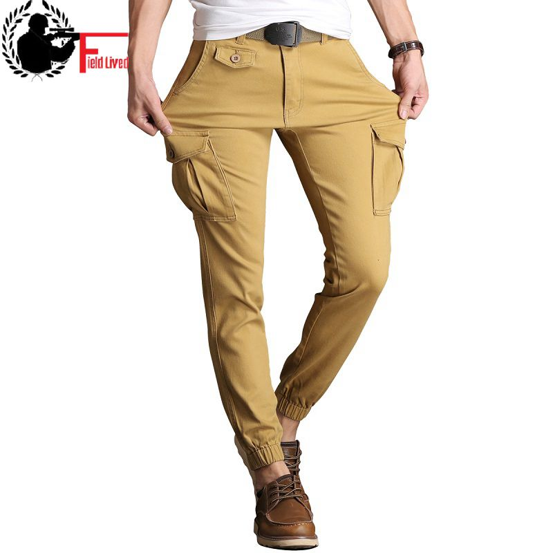 Mens Slim Fit Trousers Stretch Skinny Pants Tactical Military Cargo Pants Multi Pocket Cotton Ankle Length Male Jogger