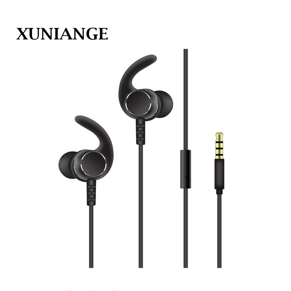 XUNIANGE new mobile phone in-ear wired earphones earplugs straight plug-in line control computer game subwoofer headset manufact