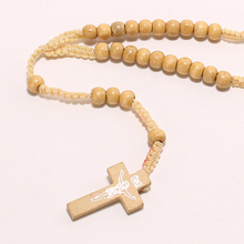 Men Women Catholic Christ Wooden 8mm Rosary Bead Cross Pendant Woven Rope Necklace