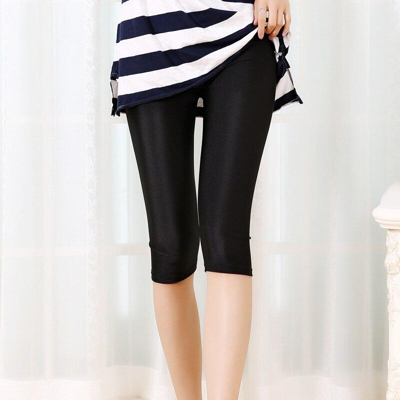new women Leggings summer autumn thin Slim knee length black legins elastic waist leggins female clothing femme pants