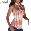 Plus Size Awaytr New Sexy Backles Halter Top Shirt 2016 Summer Turtleneck Hollow Striped Print T Shirts for Women Clothing