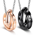 Four Leaf Clover Lovers' Necklaces New Fashion Black/Rose Gold Color Stainless Steel with Cubic Zirconia Women Men JewelryGX1075
