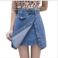 2018NewEmpire Office Lady A Line Women Denim Skirts Summer Female Mini With Belt Fashion Denim Skirts