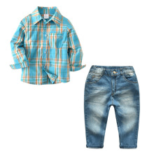 2019 Autumn Baby Clothing Set Children Boys Clothes 2PCS Infant Plaid Shirts+Long Jeans Roupa De