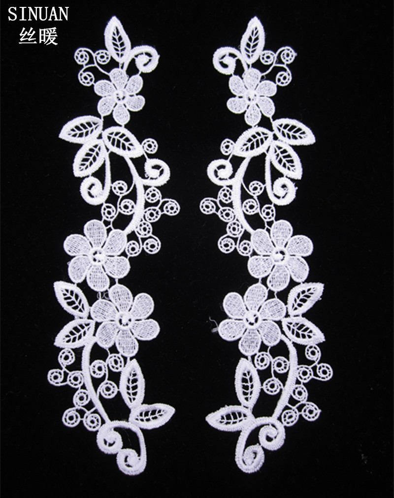 SINUAN Clothes Lace Embroidered Lace Sew-On Flower Embroidered White Trimming For Dresses 100% Polyester Clothing Accessories