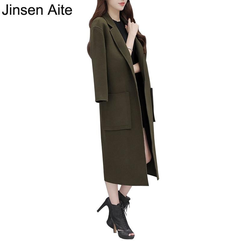 down Veste Femmes Long Turn Js333 Dame Grande Army Mujer Trench Manteau Survêtement Taille Mince D'hiver Aite Green Laine Abrigos Jinsen Col Casual qxSavt7t