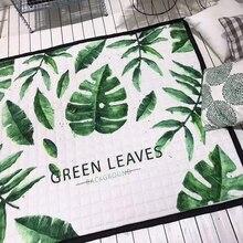 green leaves Print mat for living room kids play mat tropical style carpet 145 195cm multifunctional