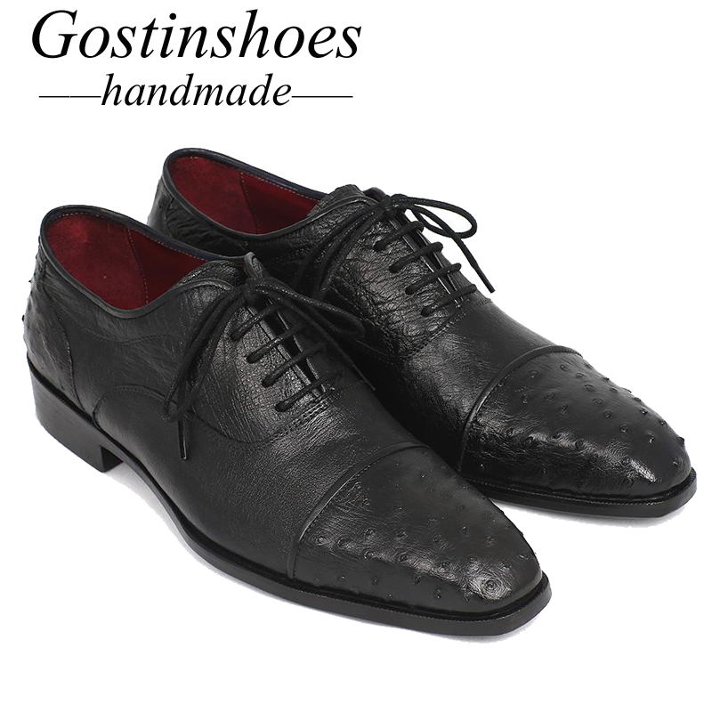 GOSTINSHOES HANDMADE Goodyear Welted Mens Dress Shoes Genuine Ostrich Skin Cap Toe Cow Leather Upper Formal Shoes Black SCF26 in Formal Shoes from Shoes