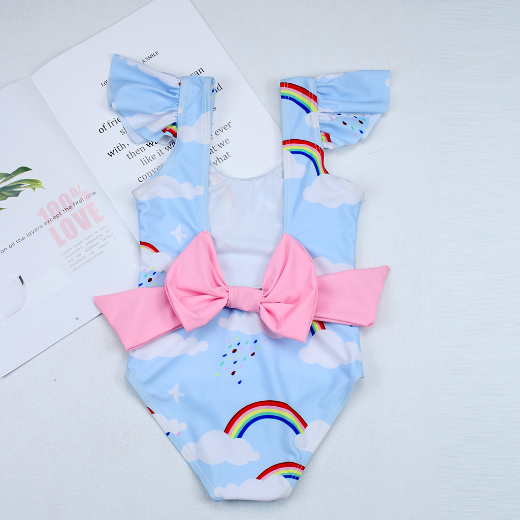 2019New Swimsuit Girls One Piece Swimwear Children Bodysuit Pretty Rainbow And Cloud Print Big Bowknot Swimsuit