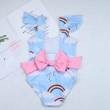 2019New Swimsuit Girls One Piece Swimwear Children Bodysuit Pretty Rainbow and Cloud Print Big Bowknot