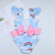 2019New Swimsuit Girls One Piece Swimwear Children Bodysuit Pretty Rainbow and Cloud Print Big Bowknot Swimsuit(China)