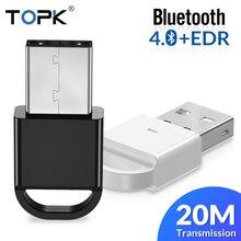 Topk usb bluetooth mini 4.0 bluetooth dongle adaptador transmissor receptor para computador pc ps4 alto falante música sem fio mouse aptx