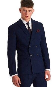 Double-Breasted Mens Suits Navy Blue Groomsmen Peak Lapel Groom Tuxedos Wedding Best Man Suit (Pants+Tie)