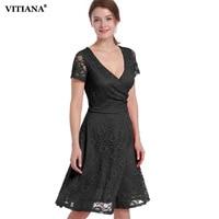 VITIANA 2017 Women Summer Lace Casual Clothing Black Red V Neck Knee Length Short Sleeve Bridesmaid