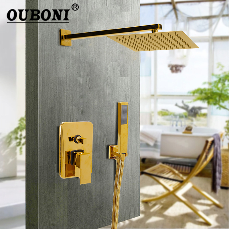 OUBONI 8 Inch Gold Plate Solid Brass Wall Ceiling Mount Rainfall Bathroom Shower Set Height Handheld Bathtub Mixer Tap Faucet ouboni modern rainfall