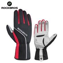 ROCKBROS Unisex Winter Cycling Gloves Sponge Padded Thermal Full Finger Bike Gloves Windproof Men